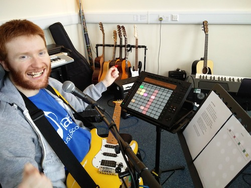 Musician and Composer Ant writing his own rap song using Electric Guitar and Ableton Live