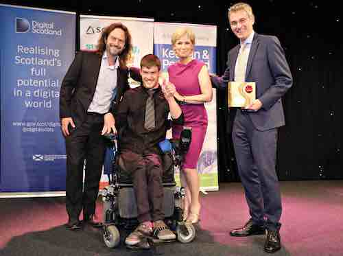 June - Sally Magnusson presenting us with the Demonstrating Digital Award at this year's SCVO Scottish Charity Awards
