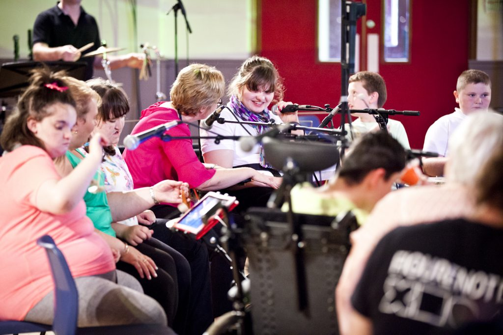 Kaleidoscope concert at Cumnock Academy as part of the Cumnock Tryst 2017. With Sir James MacMillan, Matilda Brown, Colin Currie, Scottish Ensemble, Drake Music Scotland and participants from Barshare Primary, Greenmill Primary, Auchinleck Academy, Hillside School and Riverside Centre. Photo credit: Robin Mitchell.