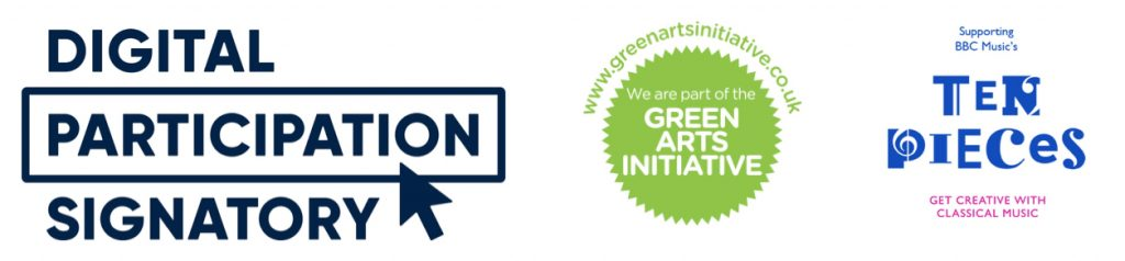 Digital Charter, Green Arts Initiative and Ten Pieces logos